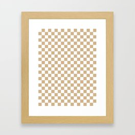 White and Tan Brown Checkerboard Framed Art Print