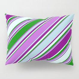Eye-catching Green, Orchid, Light Blue, Purple & Light Cyan Colored Striped/Lined Pattern Pillow Sham
