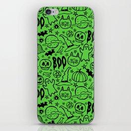 Spooky Pattern - Lime Green iPhone Skin