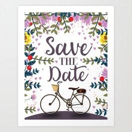 Save the Date Vintage bicycle Art Print