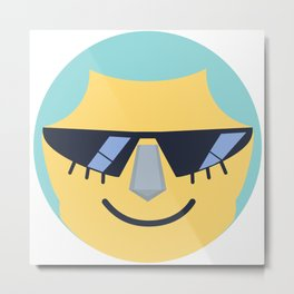 Franky Emoji Design Metal Print