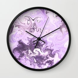 Abstract modern lavender burgundy watercolor marble pattern Wall Clock