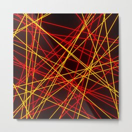 Neon Abstract Line -Red and Yellow, Black- Metal Print