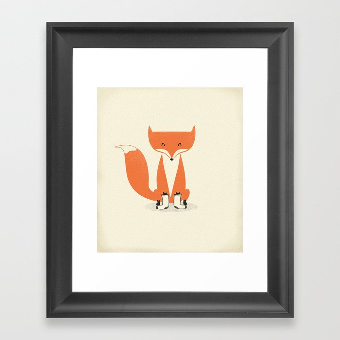 A Fox With Socks Framed Art Print