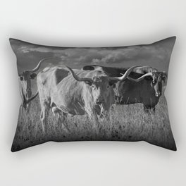 Texas Longhorn Steers under a Cloudy Sky in Black & White Rectangular Pillow
