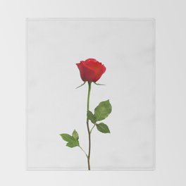 A RED LONG STEM ROSE BOTANICAL ART Throw Blanket