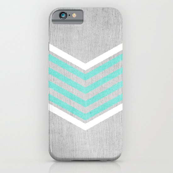 Teal and White Chevron on Silver Grey Wood iPhone & iPod Case