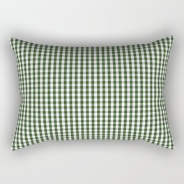 Small Dark Forest Green and White Gingham Check Rectangular Pillow