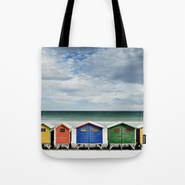 Beach Huts - Colorful houses and Sea, Cape Town, South Africa Tote Bag