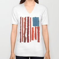 american flag V-neck T-shirts featuring American Flag  by Robert Payton