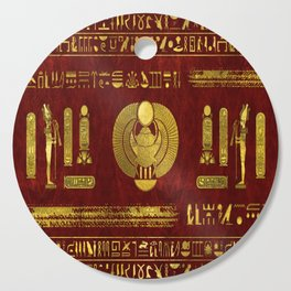 Golden Egyptian Scarab on red leather Cutting Board