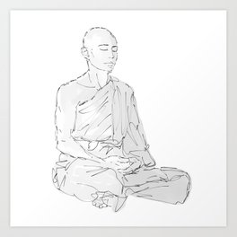 Tibetan monk meditation Art Print