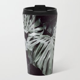 Tropical Leaves Cool Blue Travel Mug