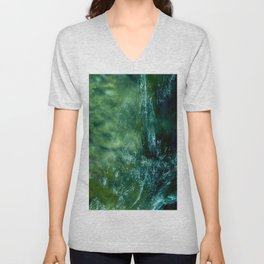 water drawing on a green background Unisex V-Neck