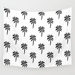 Palm Tree linocut minimal tropical black and white decor Wall Tapestry