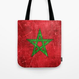 Vintage Aged and Scratched Moroccan Flag Tote Bag