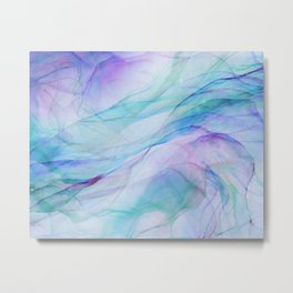 Pastel Violet Turquoise Abstract Ink Painting Metal Print