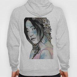 Stoic (asian girl street art portrait with mandala doodles) Hoody