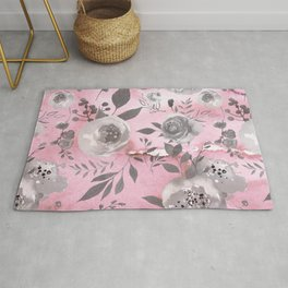 berry juice floral watercolor pink gray Rug