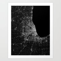 chicago map Art Prints featuring Chicago map by Line Line Lines