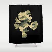 yoshi Shower Curtains featuring Camo Yoshi by meganjamo