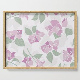 Bougainvillea flowers seamless repeating pattern, pink, green, pastel Serving Tray