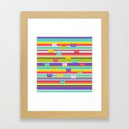 Colorful Peeking Cats on stripes Framed Art Print