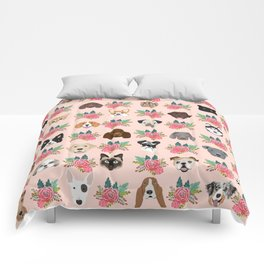 Dogs and cat breeds pet pattern cute faces corgi boston terrier husky airedale Comforters