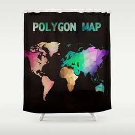 World map background in polygonal style. Modern elements world map Shower Curtain