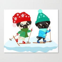 Pug Buddies on a Winter Walk Canvas Print