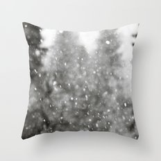 Snow Forest - Black and White Woods with Snow Falling Throw Pillow