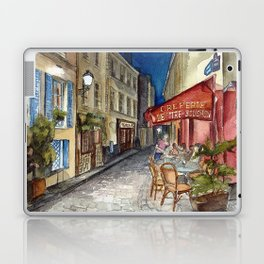 Postcards from Paris - Montmartre by Night: Le Tire-Bouchon Creperie Laptop & iPad Skin