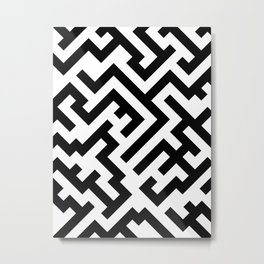 Black and White Diagonal Labyrinth Metal Print