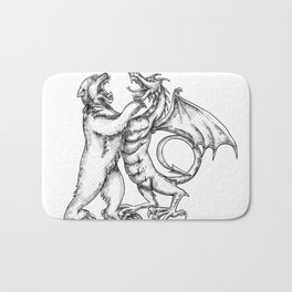 Grizzly Bear Fighting  Chinese Dragon Tattoo Bath Mat