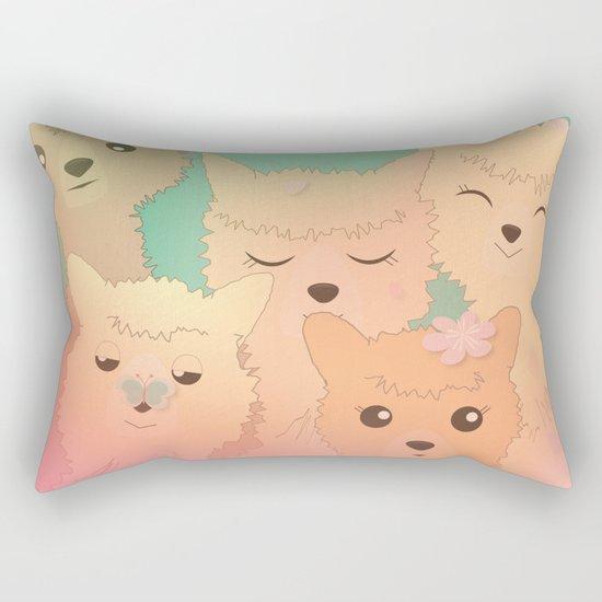 Alpaca Family II - Mint Green Spring Cherry Blossom Background Rectangular Pillow