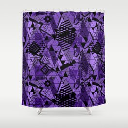 Abstract ethnic pattern in black, purple colors. Shower Curtain