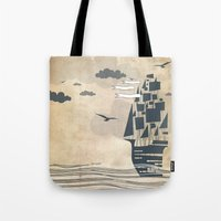 ship Tote Bags featuring Ship by Emily Rose Scott