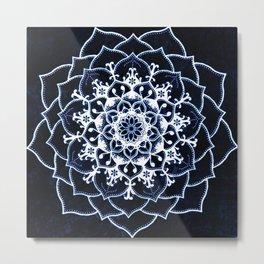 Indigo Glowing Spirit Blue & White Flower Mandala Metal Print