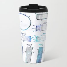 Blue Hockey Art - Hockey Puck Patent - Sharon Cummings Metal Travel Mug