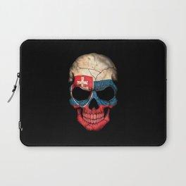 Dark Skull with Flag of Slovakia Laptop Sleeve