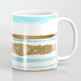 Turquoise Gold Stripes Coffee Mug