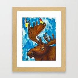 Four Birds and a Moose Framed Art Print