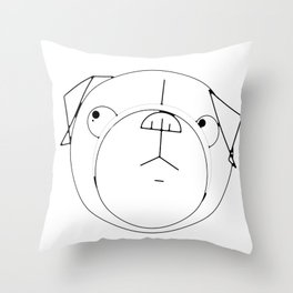 Pug Crop Cirlces Throw Pillow