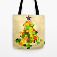 christmas tree Tote Bags featuring Christmas tree by SensualPatterns