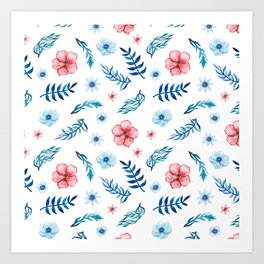 Hand painted pink blue teal watercolor floral leaves pattern Art Print
