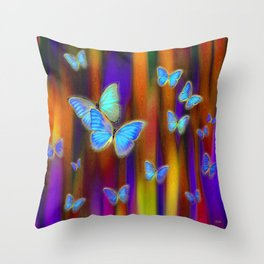 Silken Wings, Rainbow. Throw Pillow