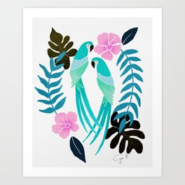 Tropical parrots - pink and turquoise palette Art Print