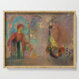 """Odilon Redon """"Woman in a gothic arcade - Woman with flowers"""" Serving Tray"""