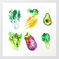 vegetables Art Prints featuring Vegetables by Naomi Bardoff