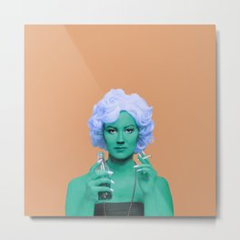 Pop art lady smoking and drinking green skin and orange background Metal Print